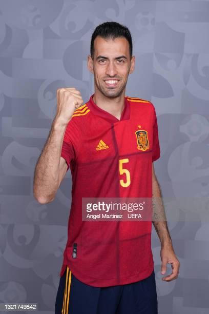 Sergio Busquets of Spain poses during the official UEFA Euro 2020 media access day at Ciudad del Futbol on June 03, 2021 in Las Rozas de Madrid,...
