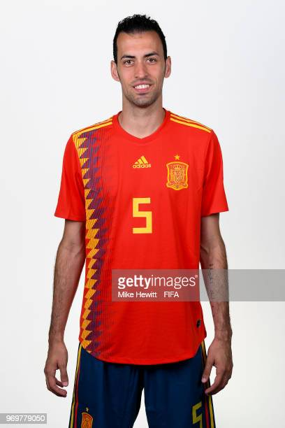 Sergio Busquets of Spain poses for a portrait during the official FIFA World Cup 2018 portrait session at FC Krasnodar Academy on June 8 2018 in...