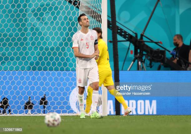 Sergio Busquets of Spain reacts after missing their side's first penalty in a penalty shoot out during the UEFA Euro 2020 Championship Quarter-final...