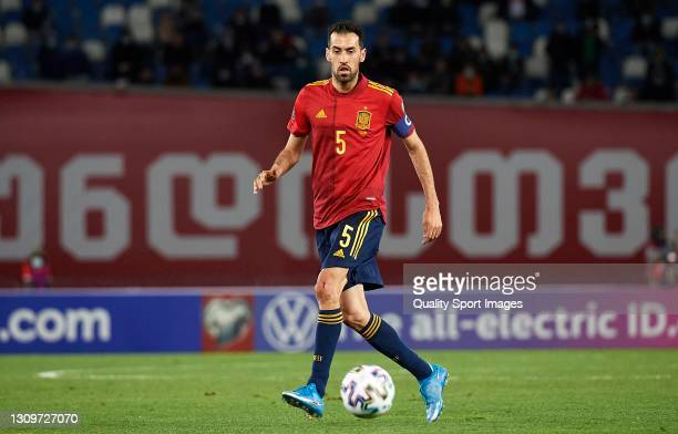 Sergio Busquets of Spain runs with the ball during the FIFA World Cup 2022 Qatar qualifying match between Georgia and Spain at Boris Paichadze...