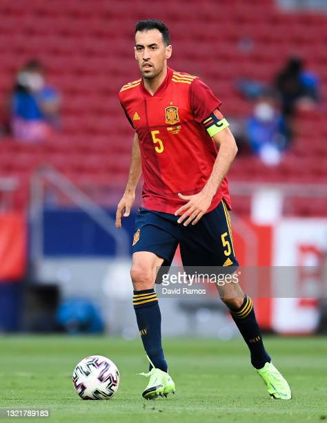 Sergio Busquets of Spain runs with the ball during the international friendly match between Spain and Portugal at Wanda Metropolitano stadium on June...