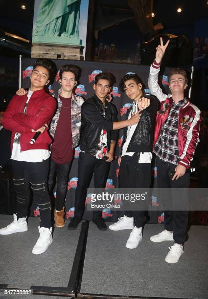 Sergio Calderon Michael Conor Chance Perez Drew Ramos and Brady Tutton of the group 'In Real Life' the grand prize winner of ABC's 'Boy Band' visit...