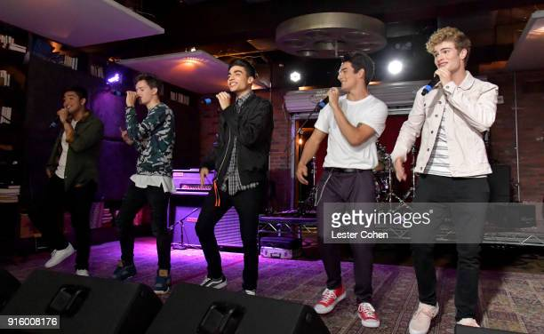 Sergio Calderon Michael Conor Drew Ramos Chance Perez and Brady Tutton of In Real Life perform on February 7 2018 in Los Angeles California
