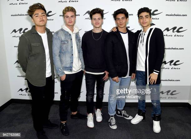 Sergio CalderonBrady TuttonMichael ConorDrew Ramos and Chance Perez of the band In Real Life visit Music Choice at Music Choice on April 6 2018 in...