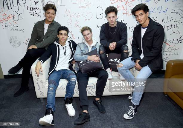 Sergio CalderonChance PerezBrady TuttonMichael Conor and Drew Ramos of the band In Real Life visit Music Choice at Music Choice on April 6 2018 in...