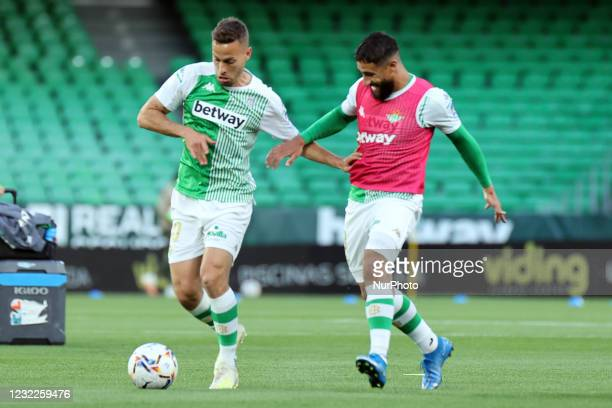 Sergio Canales and Nabil Fekir of Real Betis Balompie during the La Liga Santander match between Real Betis and Atletico de Madrid at Estadio Benito...