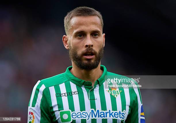 Sergio Canales of Betis looks on during the Liga match between Valencia CF and Real Betis Balompie at Estadio Mestalla on February 29, 2020 in...
