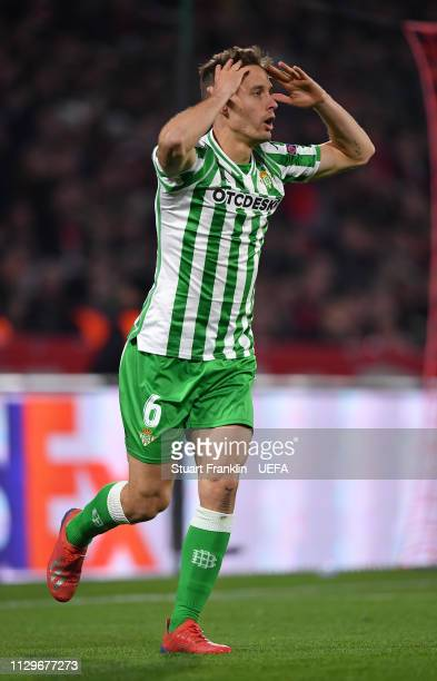 Sergio Canales of Betis reacts during the UEFA Europa League Round of 32 First Leg match between Stade Rennais and Real Betis at Roazhon Park on...