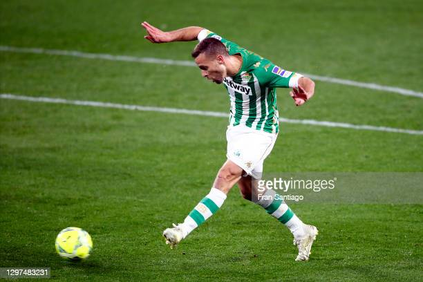 Sergio Canales of Betis scores their team's second goal during the La Liga Santander match between Real Betis and RC Celta at Estadio Benito...