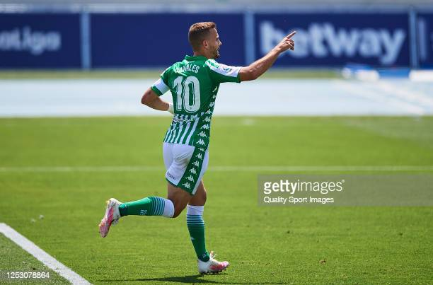 Sergio Canales of Real Betis Balompie celebrates scoring his team's goal during the Liga match between Levante UD and Real Betis Balompie at Ciutat...