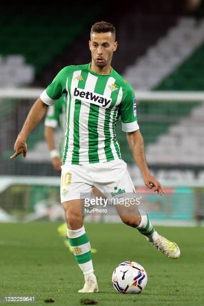 Sergio Canales of Real Betis Balompie during the La Liga Santander match between Real Betis and Atletico de Madrid at Estadio Benito Vilamarin in...