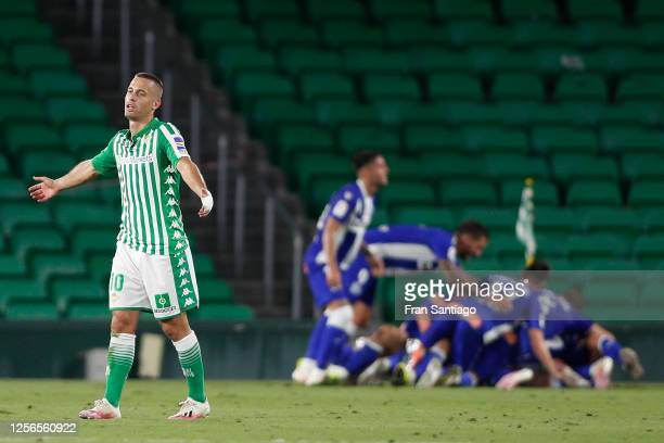 Sergio Canales of Real Betis Balompie laments the 0-2 during the Liga match between Real Betis Balompie and Deportivo Alaves at Estadio Benito...