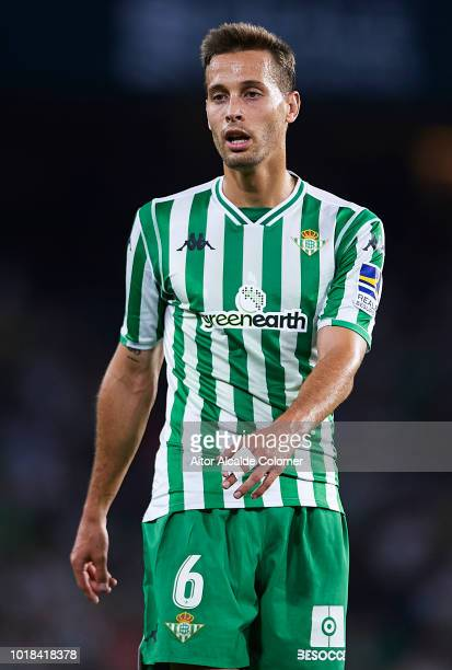 Sergio Canales of Real Betis Balompie looks on during the La Liga match between Real Betis Balompie and Levante UD at Estadio Benito Villamarin on...