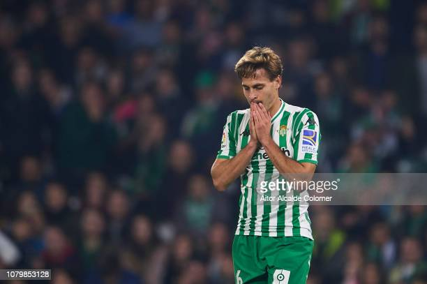 Sergio Canales of Real Betis Balompie looks on during the La Liga match between Real Betis Balompie and Rayo Vallecano de Madrid at Estadio Benito...