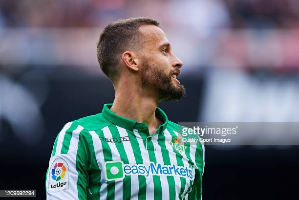 Sergio Canales of Real Betis Balompie looks on during the Liga match between Valencia CF and Real Betis Balompie at Estadio Mestalla on February 29,...