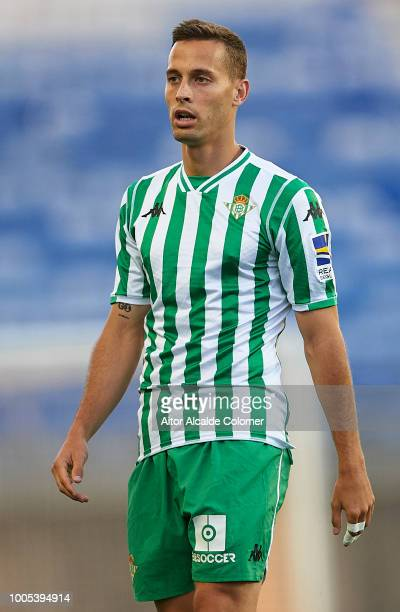 Sergio Canales of Real Betis Balompie looks on during the match between Olympique Marseille v Real Betis at Estadio Algarve on July 25 2018 in Faro...