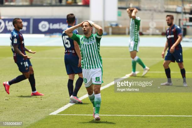 Sergio Canales of Real Betis Balompie reacts during the La Liga match between Levante UD and Real Betis Balompie at Estadi Olimpic Camilo Cano on...