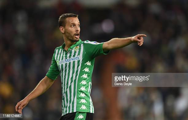 Sergio Canales of Real Betis Balompie reacts during the Liga match between Real Madrid CF and Real Betis Balompie at Estadio Santiago Bernabeu on...