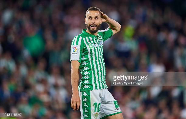Sergio Canales of Real Betis Balompie reacts during the Liga match between Real Betis Balompie and Real Madrid CF at Estadio Benito Villamarin on...