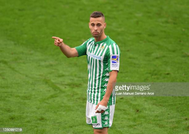 Sergio Canales of Real Betis Balompie reacts during the Liga match between Athletic Club and Real Betis Balompie at San Mames Stadium on June 20,...