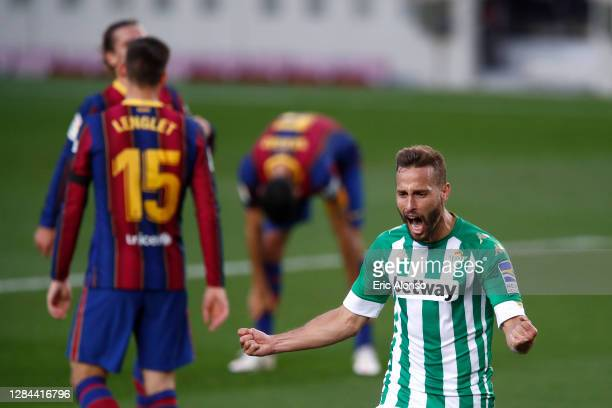 Sergio Canales of Real Betis celebrates after his team's second goal, scored by Antonio Sanabria of Real Betis during the La Liga Santander match...
