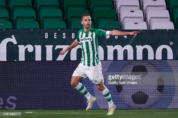 Sergio Canales of Real Betis celebrates after scoring his team's second goal during the La Liga Santander match between Real Betis and RC Celta at...