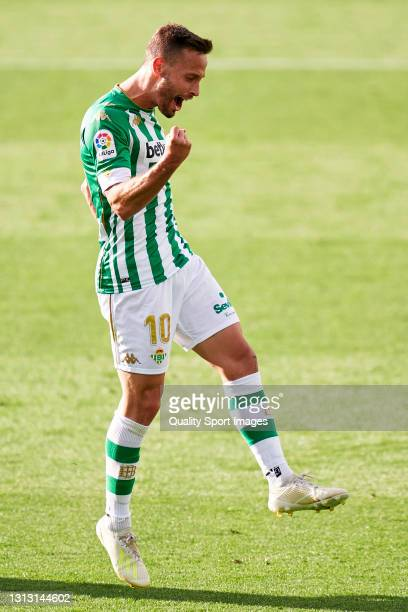Sergio Canales of Real Betis celebrates after scoring his team's second goal during the La Liga Santander match between Real Betis and Valencia CF at...