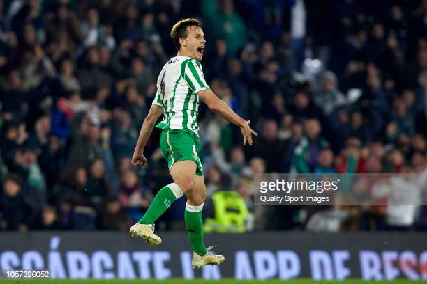 Sergio Canales of Real Betis celebrates after scoring his team's third goal during the La Liga match between Real Betis Balompie and RC Celta de Vigo...