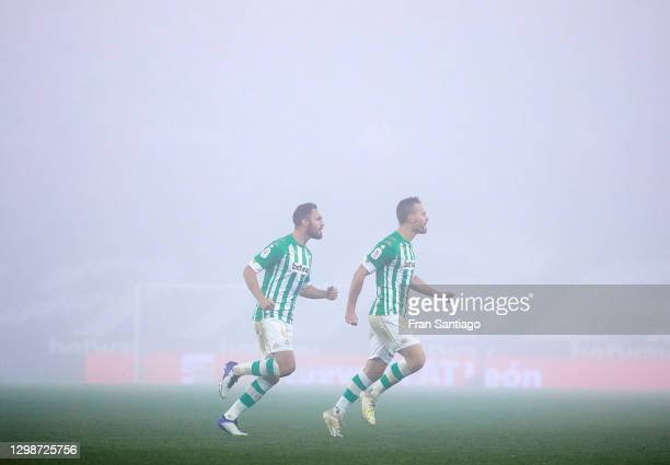 Sergio Canales of Real Betis celebrates scoring his team's opening goal with Victor Ruiz during the Copa del Rey match between Real Betis and Real...