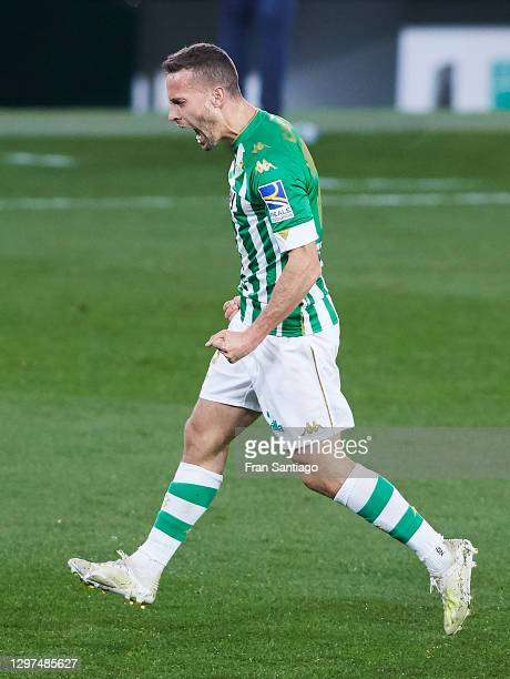 Sergio Canales of Real Betis celebrates scoring his team's second goal during the La Liga Santader match between Real Betis and RC Celta at Estadio...