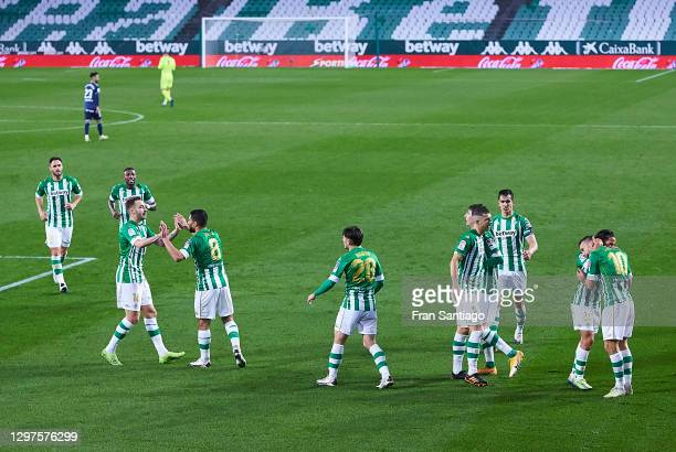 Sergio Canales of Real Betis celebrates scoring his team's second goal with team mates during the La Liga Santander match between Real Betis and RC...