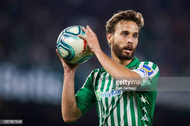 Sergio Canales of Real Betis looks on during the Liga match between Real Betis Balompie and RCD Mallorca at Estadio Benito Villamarin on February 21,...