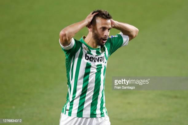 Sergio Canales of Real Betis reacts during the La Liga Santander match between Real Betis and Real Madrid at Estadio Benito Villamarin on September...