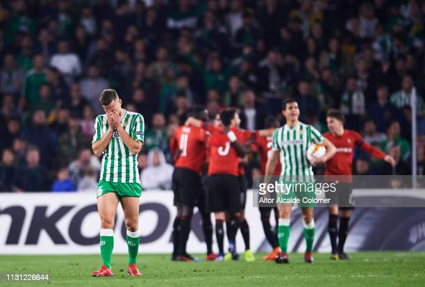 Sergio Canales of Real Betis reacts during the UEFA Europa League Round of 32 Second Leg match between Real Betis v Stade Rennais at Estadio Benito...