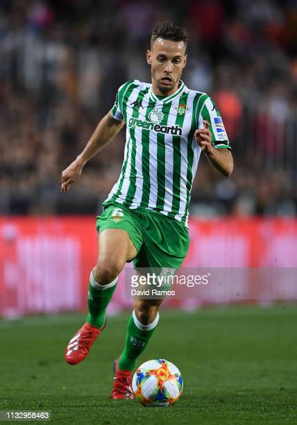 Sergio Canales of Real Betis runs with the ball during the Copa del Semi Final match second leg between Valencia and Real Betis at Estadio Mestalla...