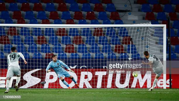 Sergio Canales of Real Betis scores a penalty for his team's second goal during the La Liga Santander match between Levante UD and Real Betis at...