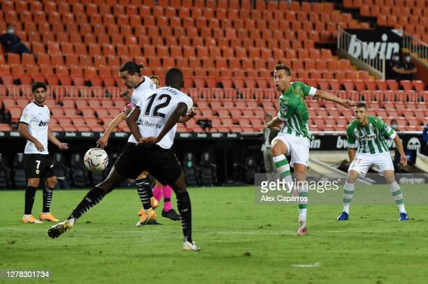 Sergio Canales of Real Betis scores his team's first goal during the La Liga Santander match between Valencia CF and Real Betis at Estadio Mestalla...