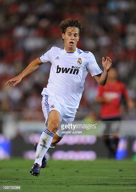 Sergio Canales of Real Madrid in action during the La Liga match between Mallorca and Real Madrid at the ONO Estadio on August 29, 2010 in Palma de...