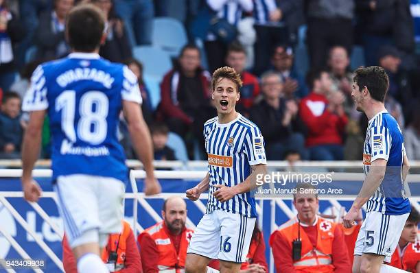Sergio Canales of Real Sociedad celebrates after scoring goal during the La Liga match between Real Sociedad de Futbol and Girona FC at Estadio...