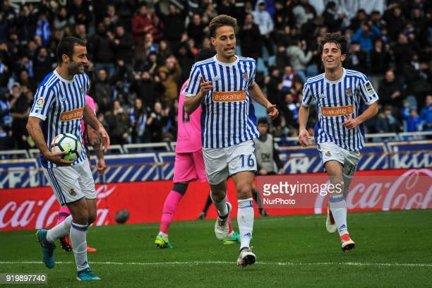 Sergio Canales of Real Sociedad celebrates with teammates after scoring during the Spanish league football match between Real Sociedad and Levante at...