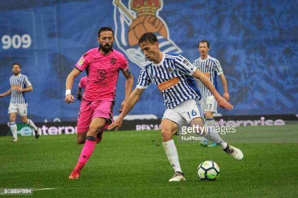 Sergio Canales of Real Sociedad duels for the ball with Morales of Levante during the Spanish league football match between Real Sociedad and Levante...