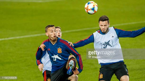 Sergio Canales of Spain and Saul Niguez of Spain battle for the ball during the Spain training session at Mestalla Stadium on March 22 2019 in...