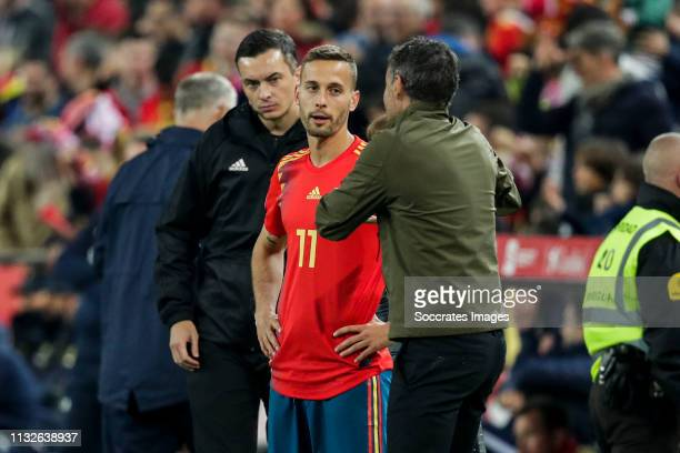 Sergio Canales of Spain, coach Luis Enrique of Spain during the EURO Qualifier match between Spain v Norway at the Estadio de Mestalla on March 23,...