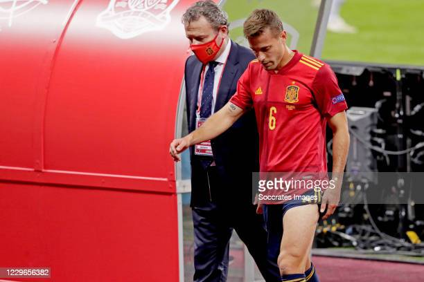 Sergio Canales of Spain leaves the pitch injuried during the UEFA Nations league match between Spain v Germany at the la Cartuja Stadium on November...