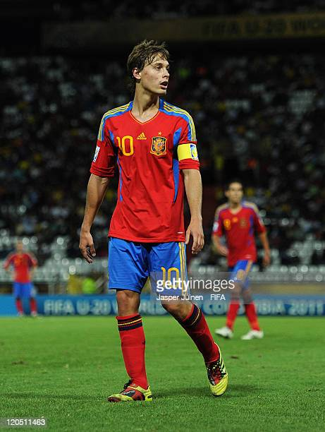 Sergio Canales of Spain looks on during the FIFA U20 World Cup Colombia 2011 group C match between Australia and Spain at the Palogrande stadium on...