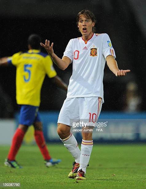 Sergio Canales of Spain reacts during the FIFA U20 World Cup Colombia 2011 group C match between Ecuador and Spain at the Palogrande stadium on...