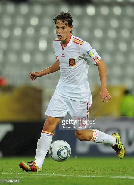 Sergio Canales of Spain runs with the ball during the FIFA U20 World Cup Colombia 2011 group C match between Ecuador and Spain at the Palogrande...