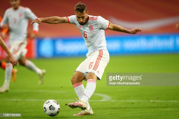 Sergio Canales of Spain scores his team's first goal during the international friendly match between Netherlands and Spain at Johan Cruijff Arena on...
