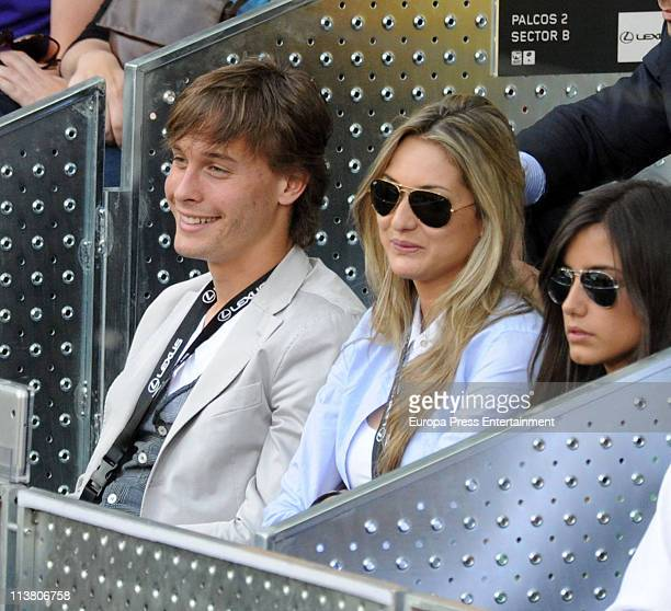 Sergio Canales watches a tennis match during the Mutua Madrilena Madrid Open Tennis 2011 at La Caja Magica on May 5 2011 in Madrid Spain