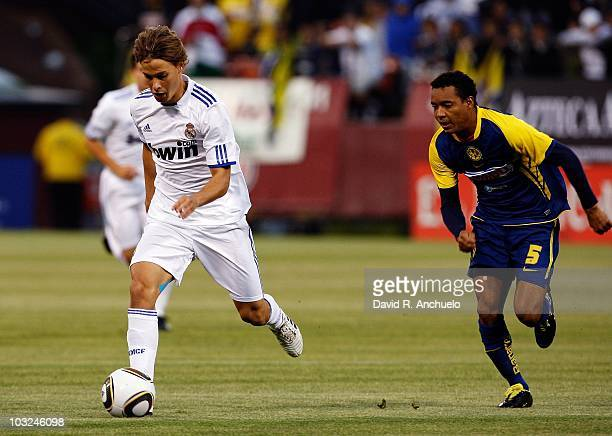 Sergio Canes of Real Madrid in action during a friendly match between Club America and Real Madrid on August 4 2010 in San Francisco California